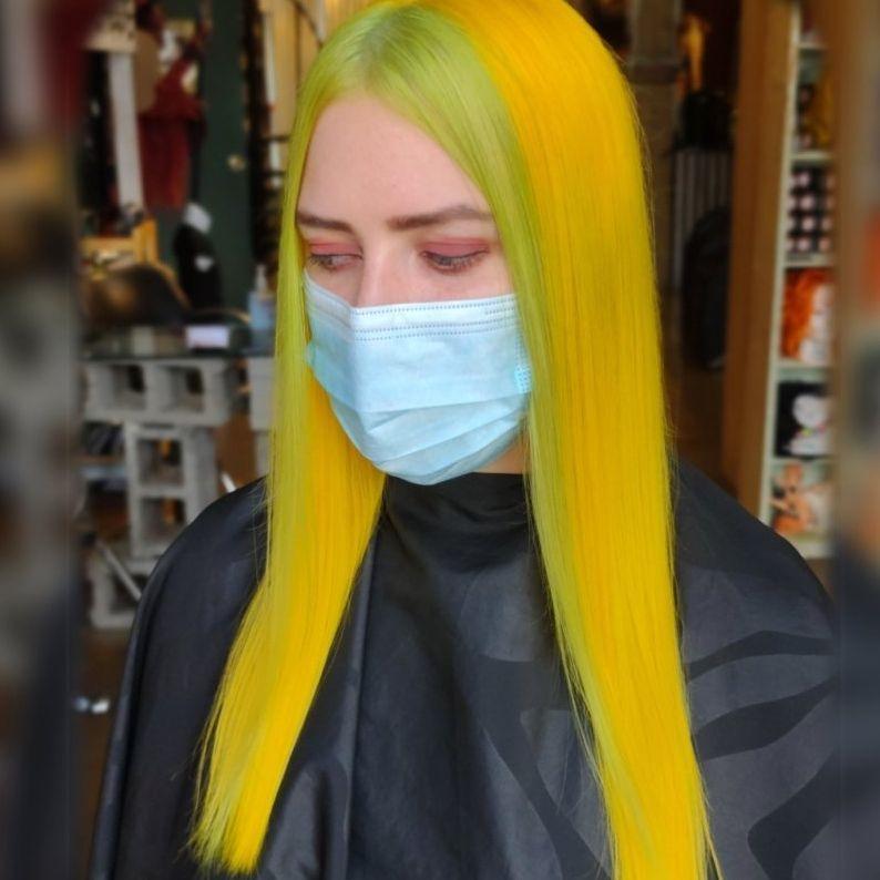 vivid bold haircolor yellow hair punk salons healthy mermaids vegan salons