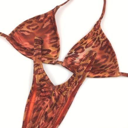 Leopard posing practice bikini