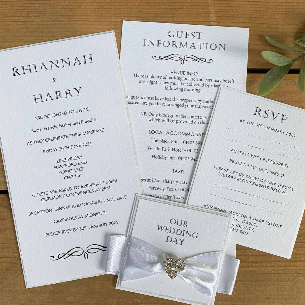 White and glitter luxury Wedding Invitation