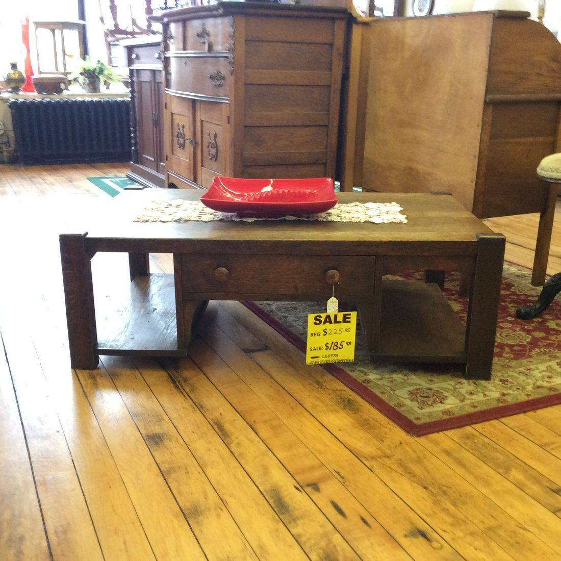 "Circa 1910 / 1920 Mission Style Oak Desk Revamped into Coffee Table 42-1/2"" L x 26-1/2"" D x 15"" H.  $225.00"