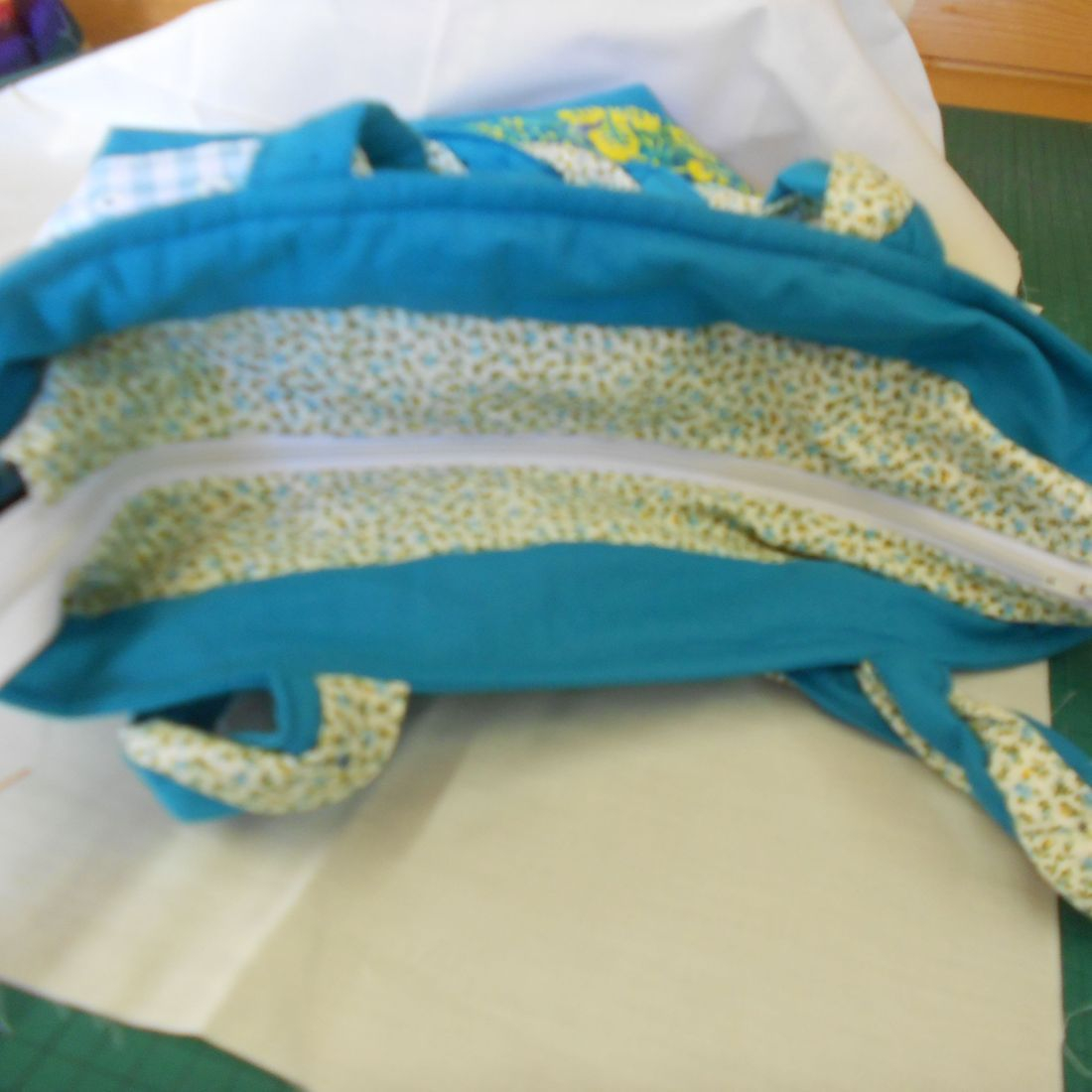 Turquoise and Yellows Patchwork Bag