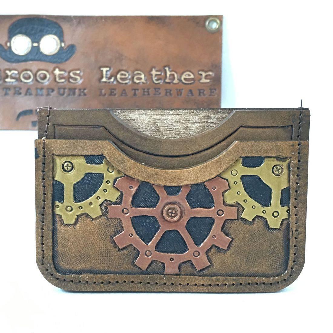 Double Slot Wallet Steampunk Copper Gear
