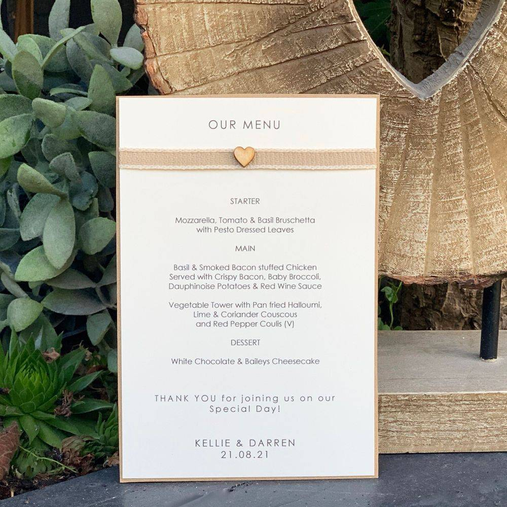 Rustic Menu Card with wooden heart