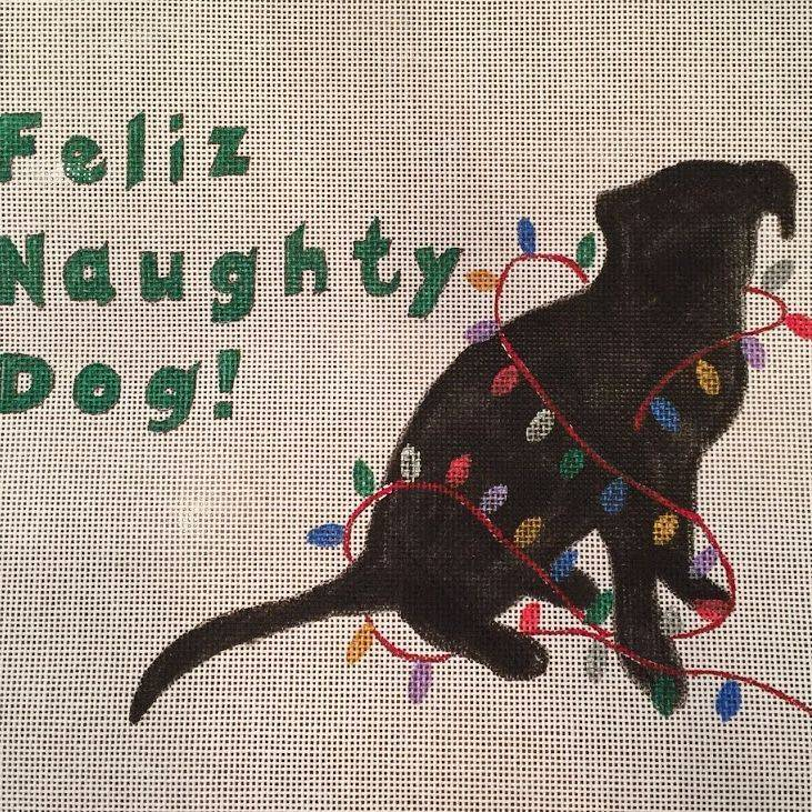 naughty, dog, lights, christmas, feliz