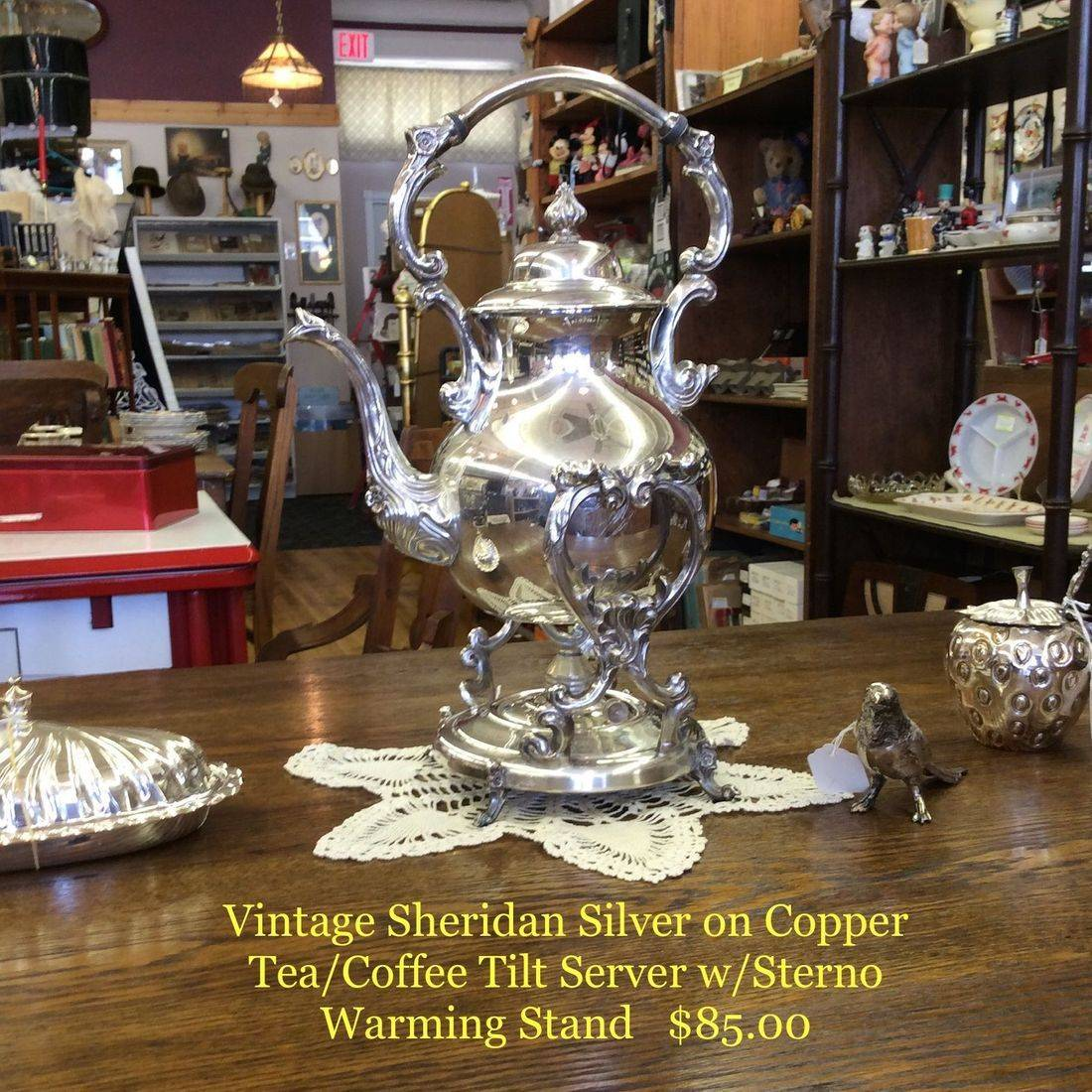 Vintage Sheridan Silver on Copper Tea/Coffee Tilt Server w/Sterno Warming Stand   $85.00