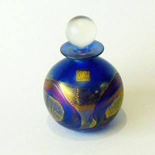 ISLE OF WIGHT GLASS/Golden peacock spherical perfume bottle 13cm