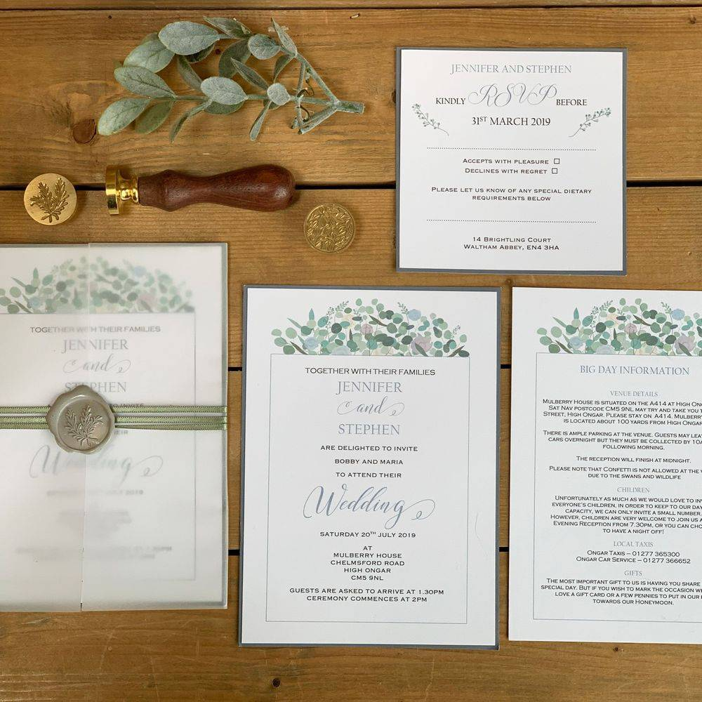 Wax Seal Wedding Invitation - White with Lilacs and greys