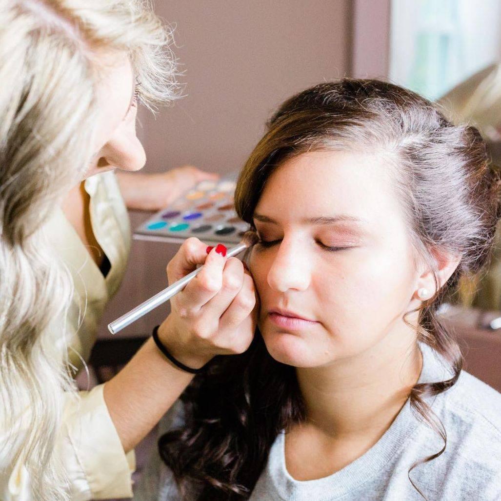 Makeup application for wedding