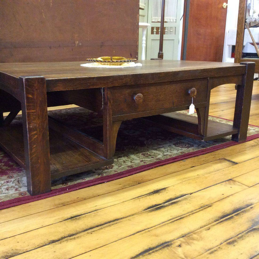 "Circa 1910-1920 Arts and Crafts Oak Coffee Table w/Drawer  42-1/2""L x 26-1/2""D x 15""H.  $225.00"