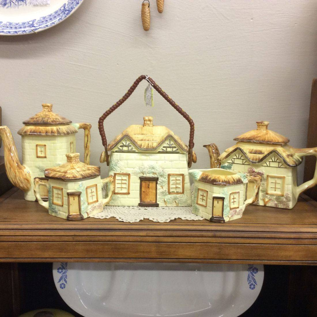 Vintage Keele St. Pottery Co. Hand-Painted Cottageware 5-pc. Set, Teapot, Sugar, Creamer, Biscuit Jar and Coffee Jug   $85.00