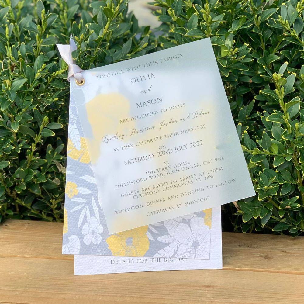 Grey and Yellow Wedding Invitation