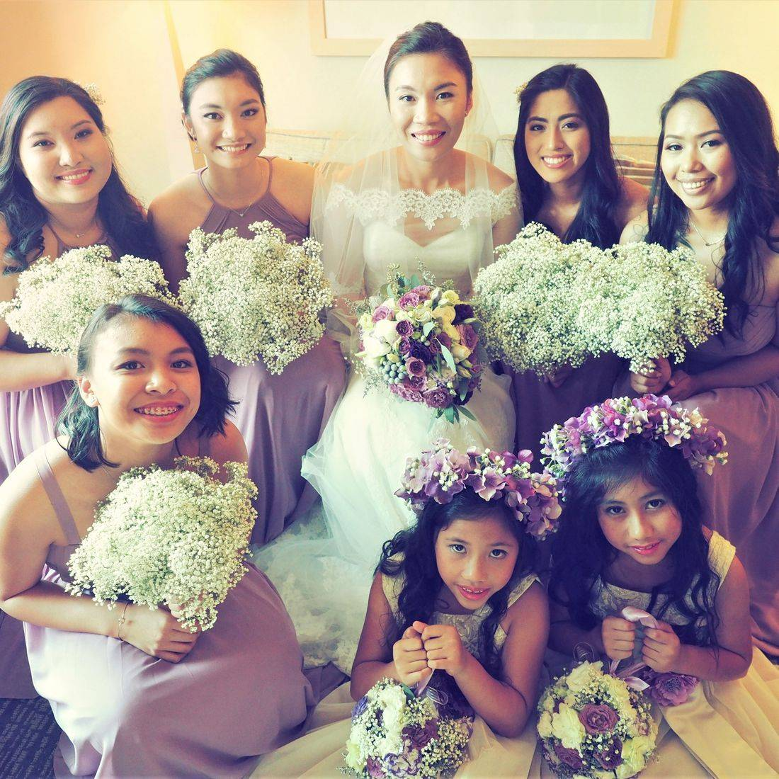 bride, bridesmaids, makeup, wedding, bridal