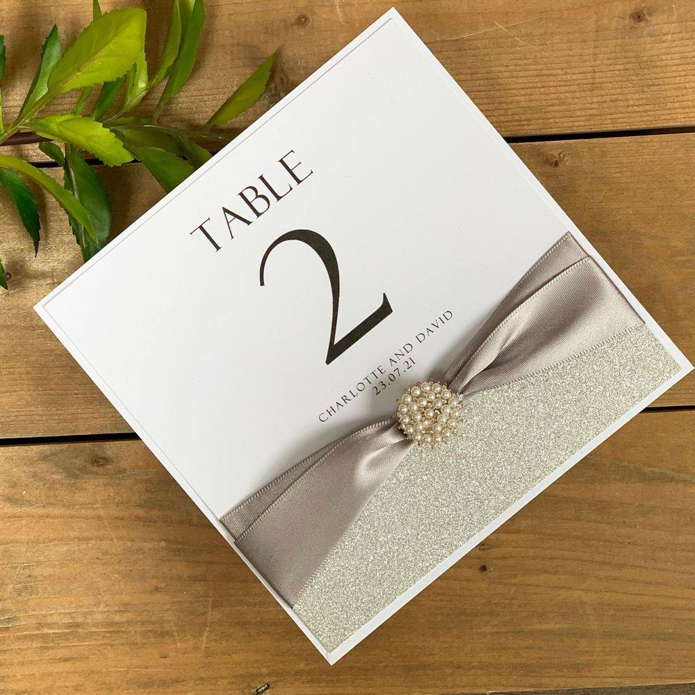 Luxury White and Silver glitter Table Number card for weddings