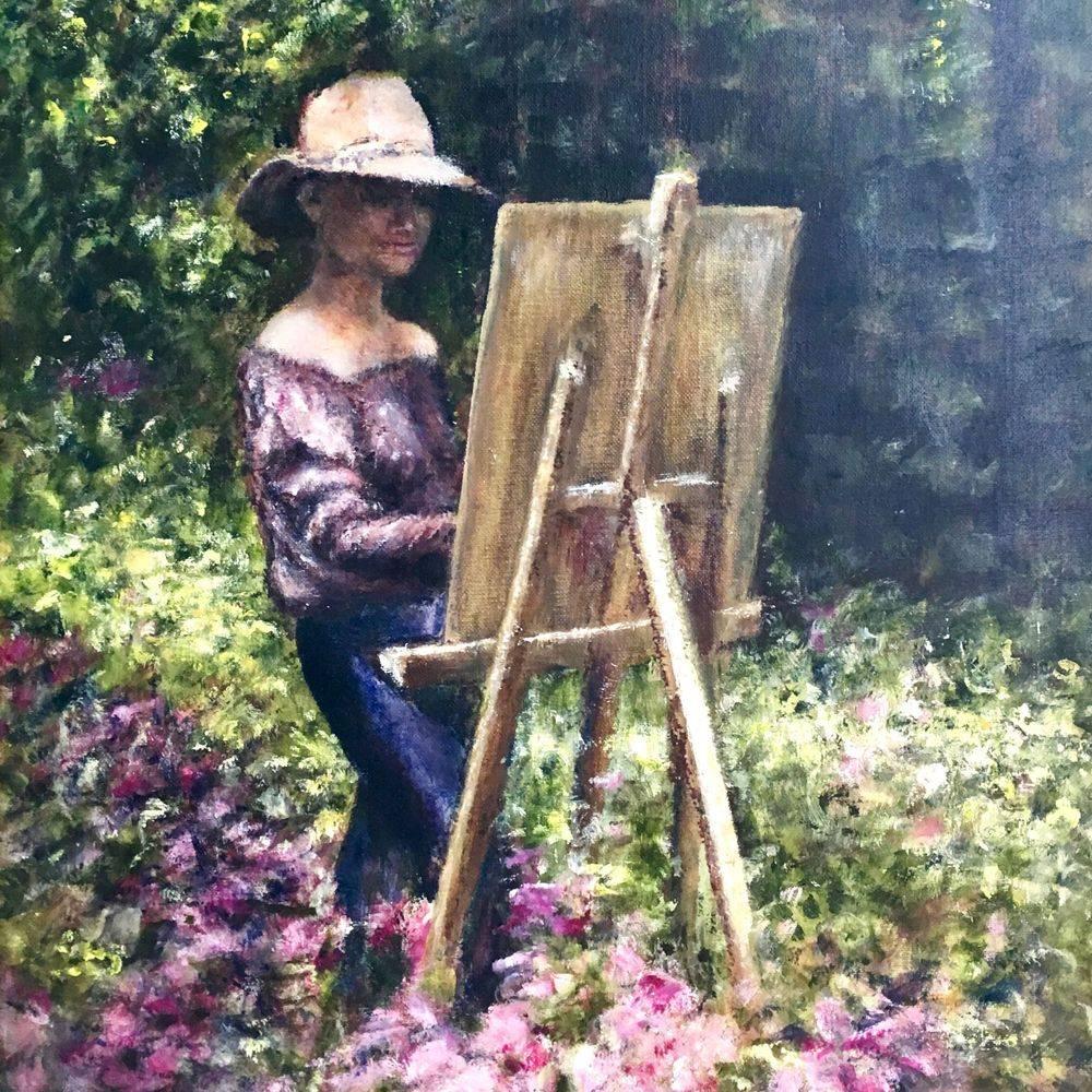 Artist at work in the garden. Oil by Marcia Kuperberg