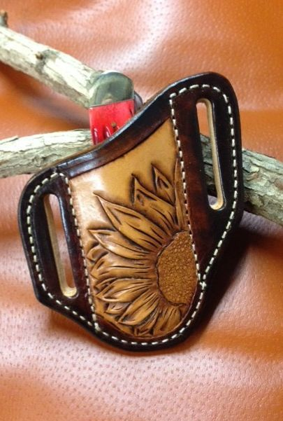 trapper knife sheath , tooled , black , tan , leather , monogrammed , pancake style , case , stockman knives