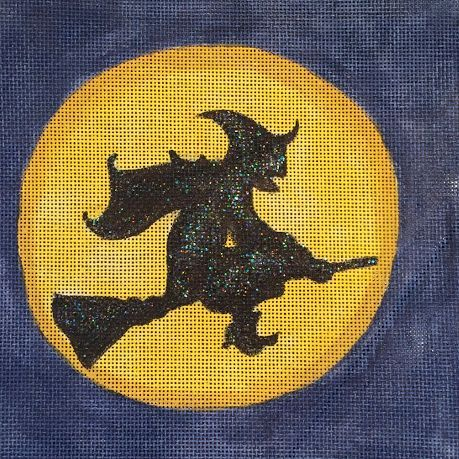 witch, flying, moon, halloween