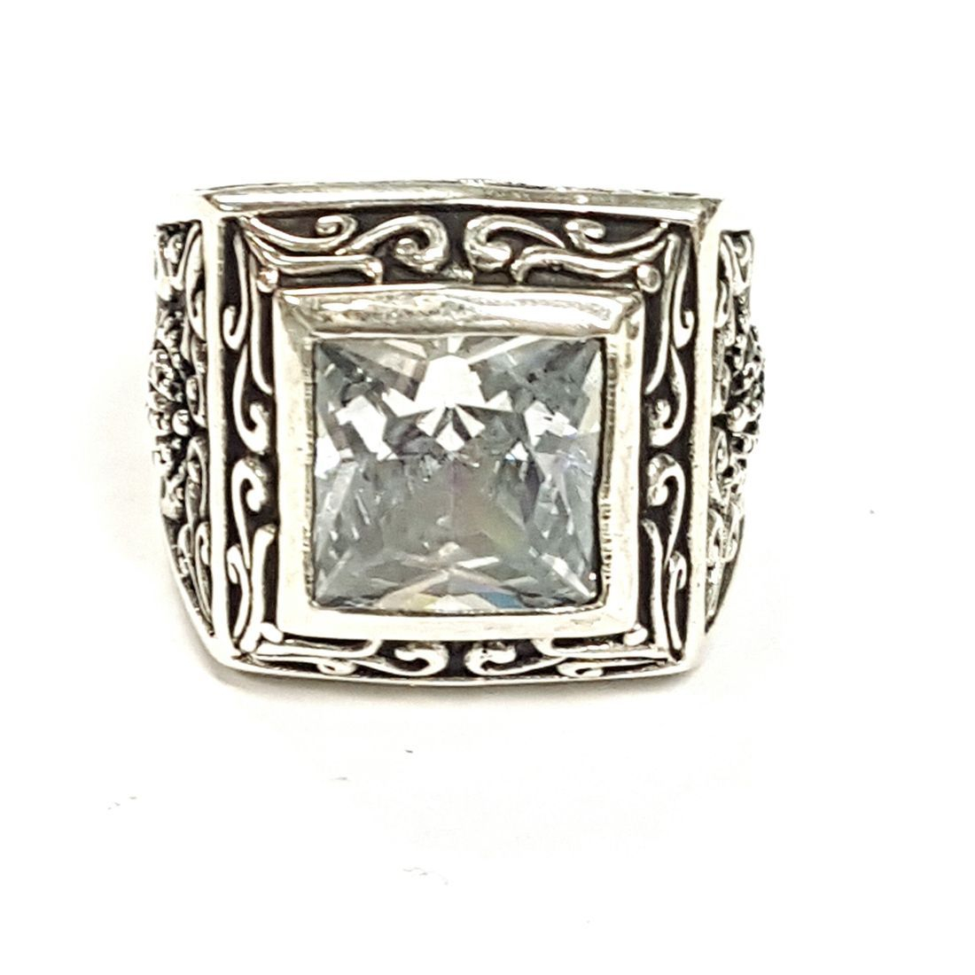 Square Clear Crystal Ring  available at Kazbah online and our Leicester City Centre shop