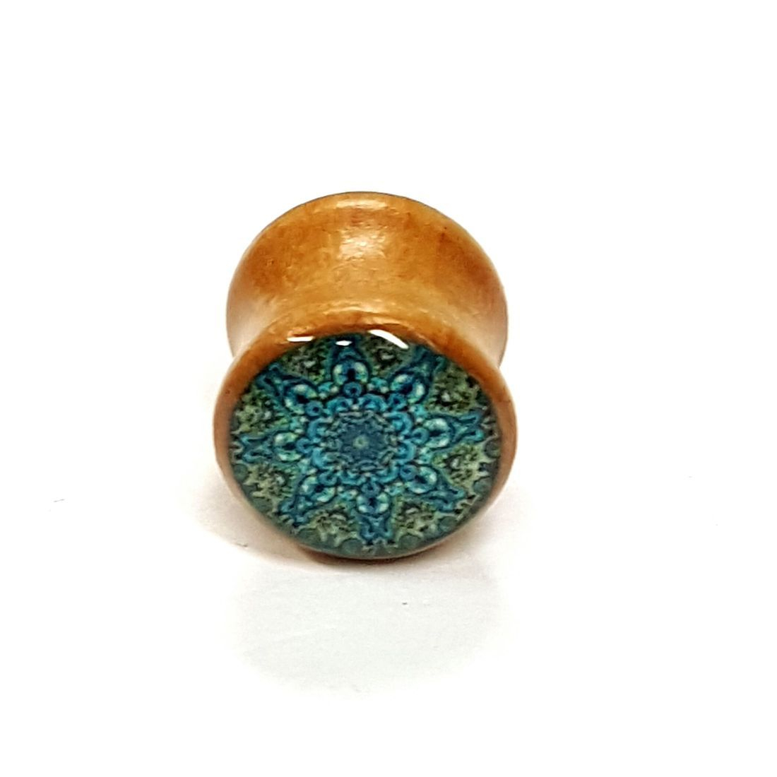 16mm Blue Mandala Palm Wood Plug