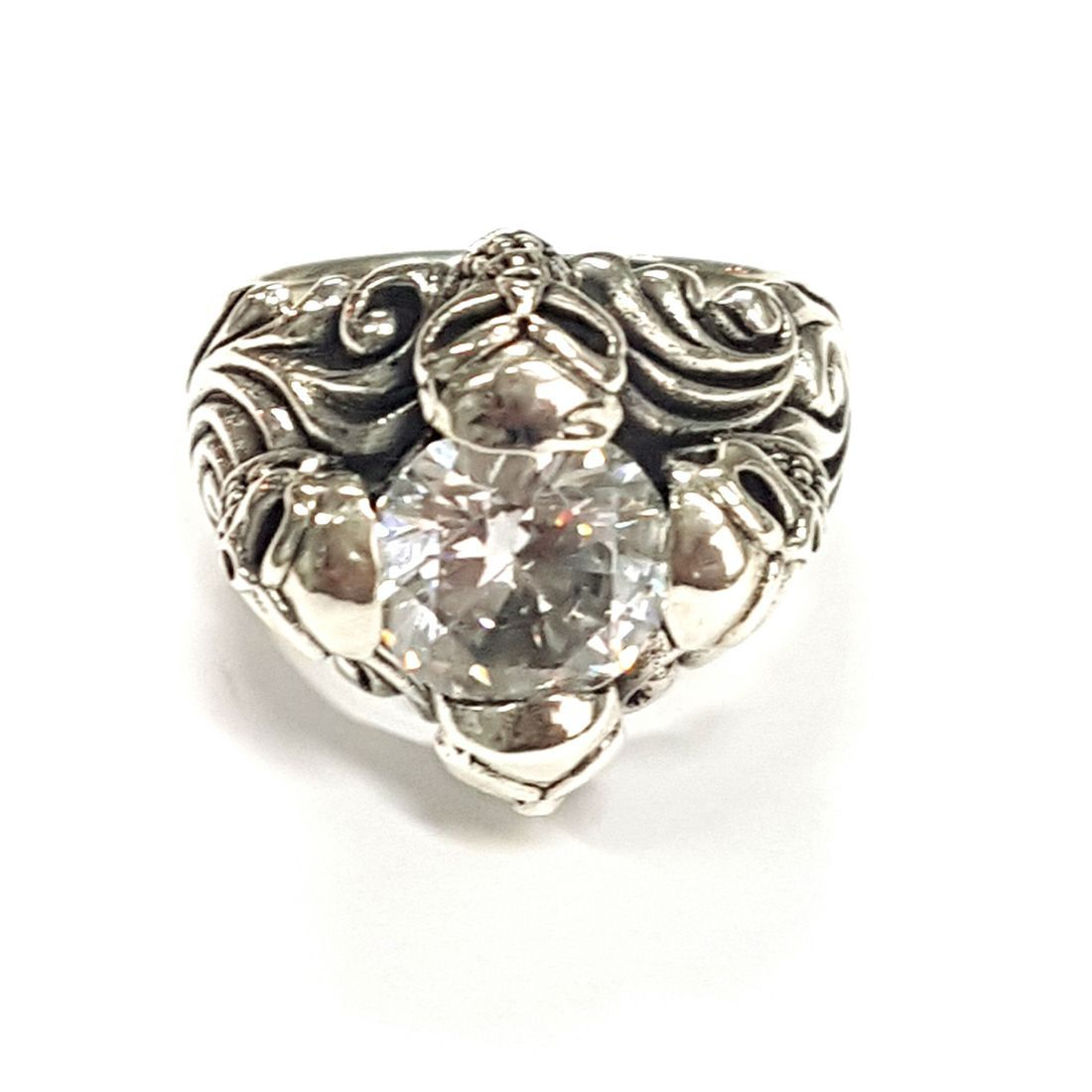 Clear Crystal 4 Skull Ring  available at Kazbah online and our Leicester City Centre shop