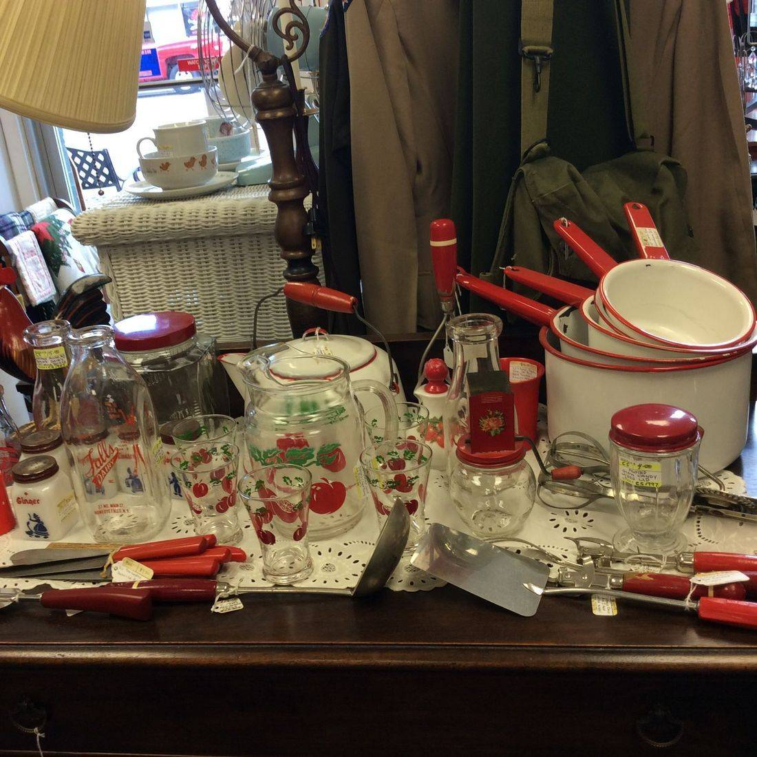 Vintage Red & White Enamelware and Misc. Kitchen Utensils  (prices vary)