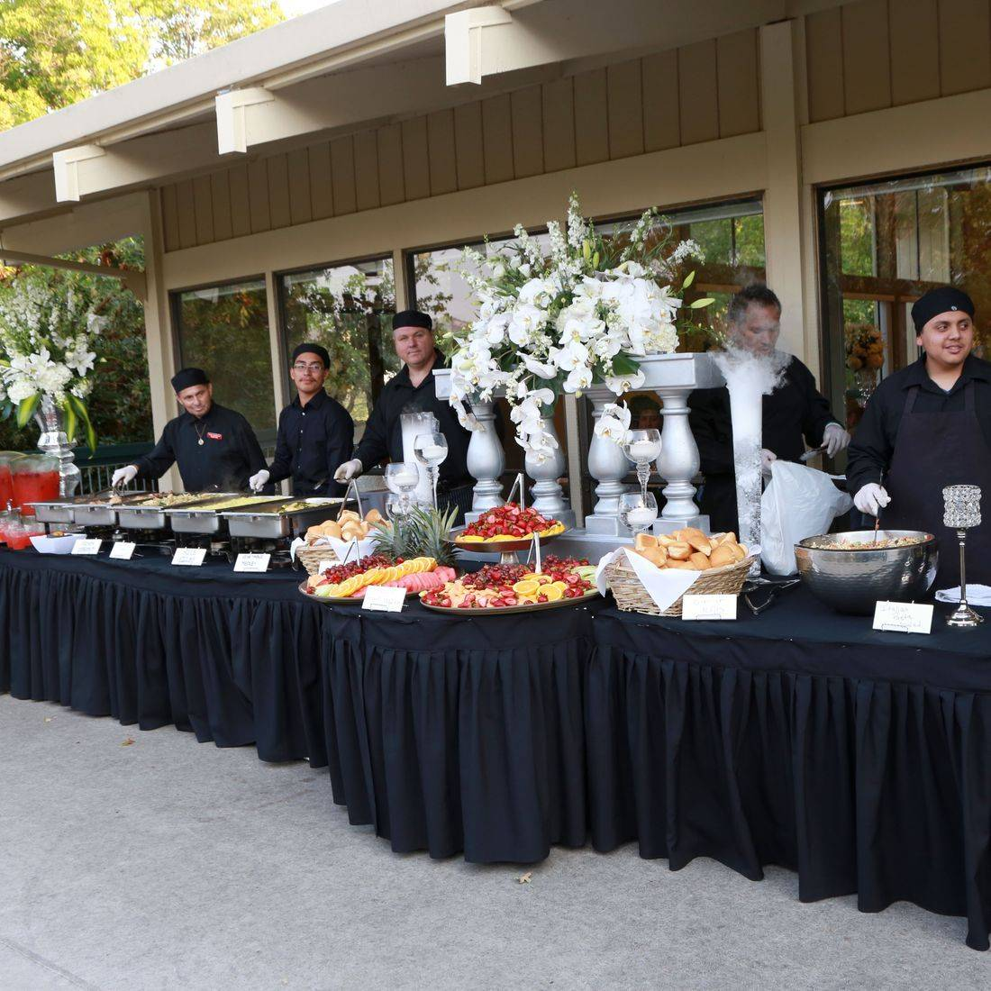 catering, buffet, servers, hot food