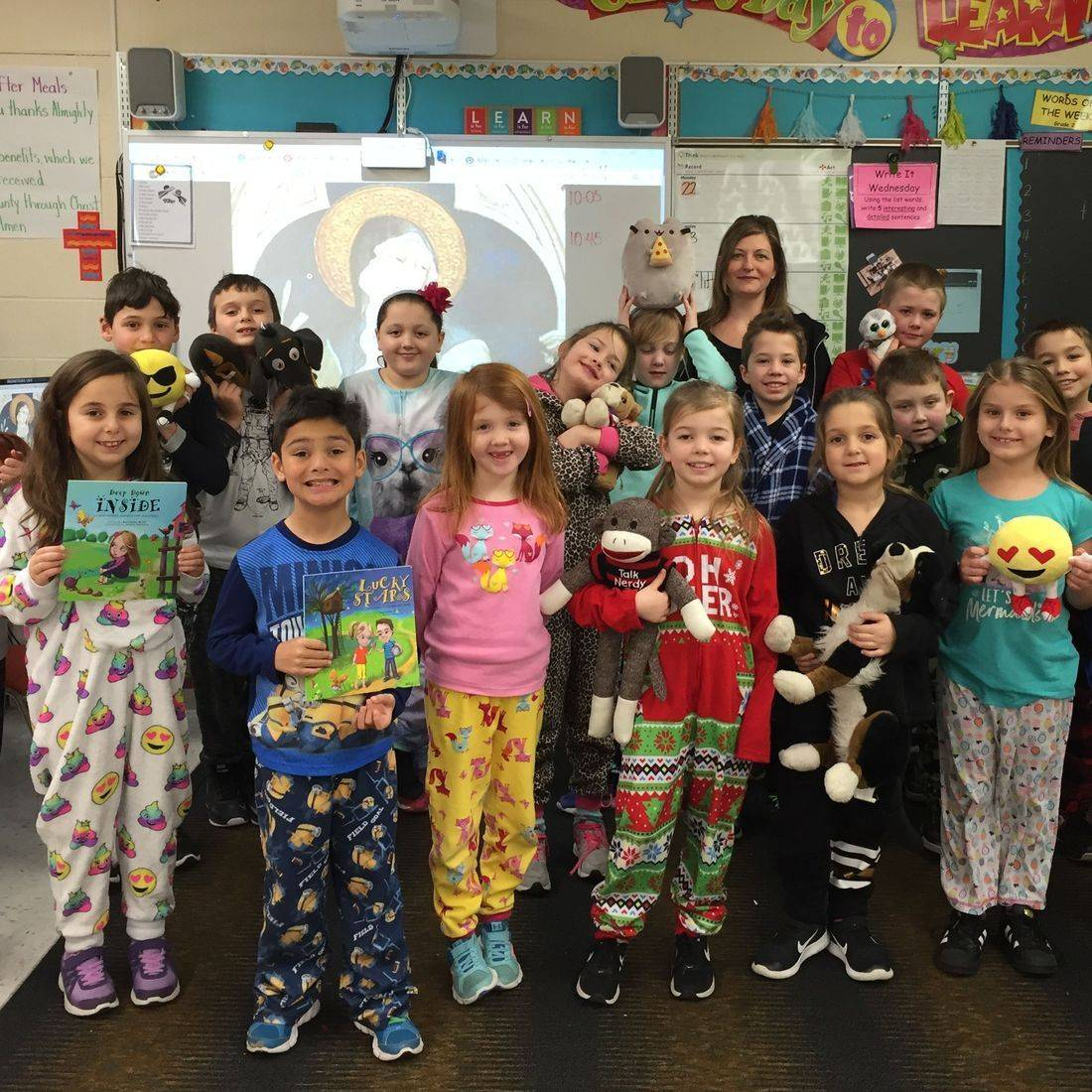 Snuggle Up and Read Day January 29, 2018 with grade 2 and 3 students with Author Daniella Grsic and her books Deep Down Inside and Lucky Stars