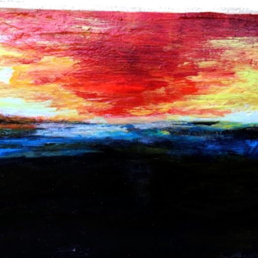 Sunrise acrylic, inks and gels on 16 x 20 canvas $250