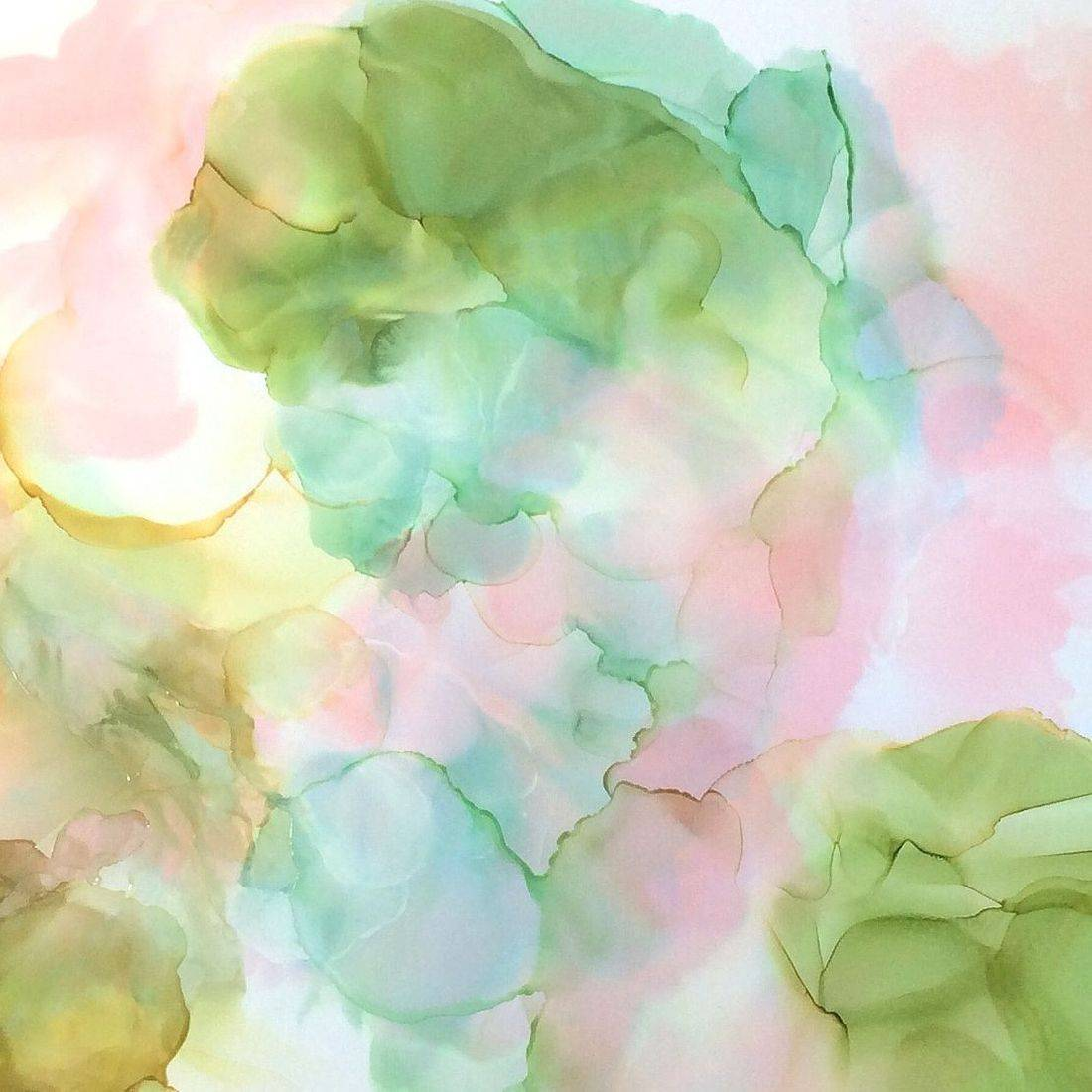Abstract Floral, Pink and Green, Alcohol Ink Art, by Barbara Polc