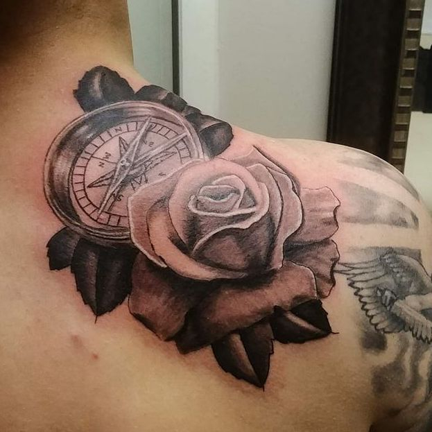 rose and compass tattoo, tattoo shop in Ann Arbor