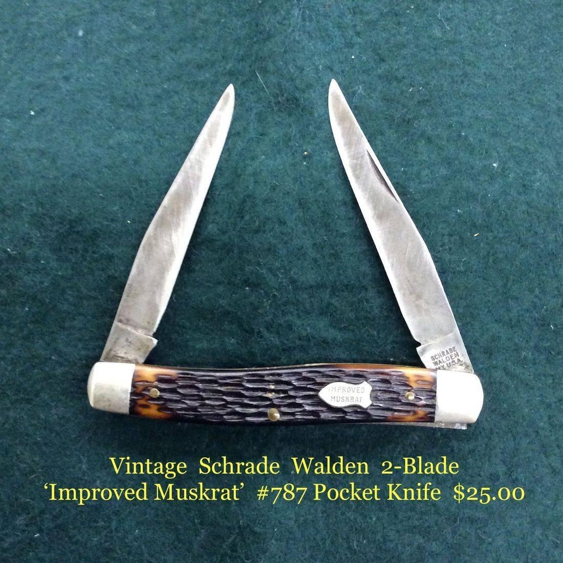 Vintage Schrade Walden 2-Blade ' Improved Muskrat ' #787 Pocket Knife   $25.00
