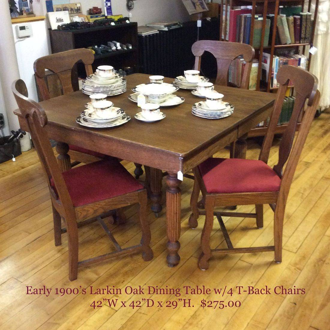 """Early 1900's  Larkin Oak Dining Table w/4-T-Back Oak Chairs and 1-21"""" Leaf  42"""" x 42"""" x 29""""H Table Top   $275.00"""