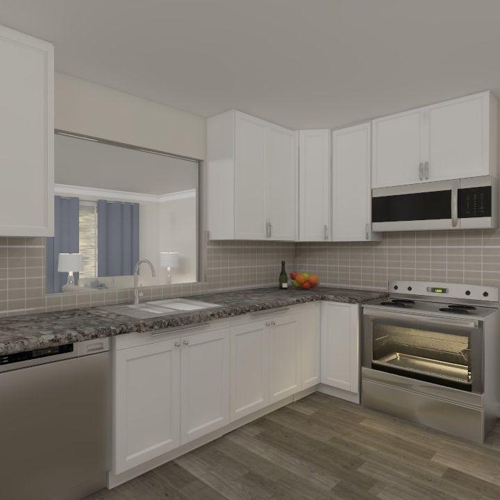 interior design, kitchen, white cabinets, peek-a-boo window