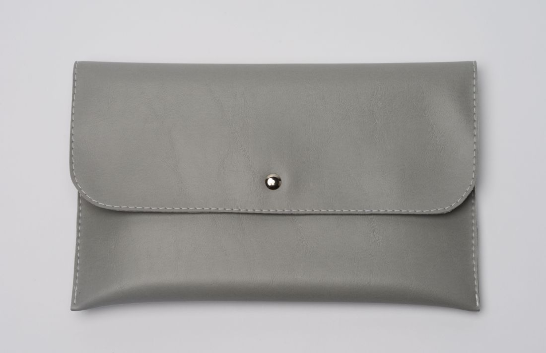 Gray Vinyl Leather evening clutch purse