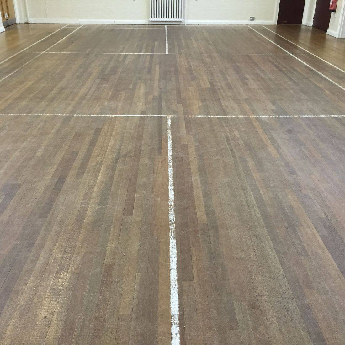 sports hall before sanding in Oadby Leicester