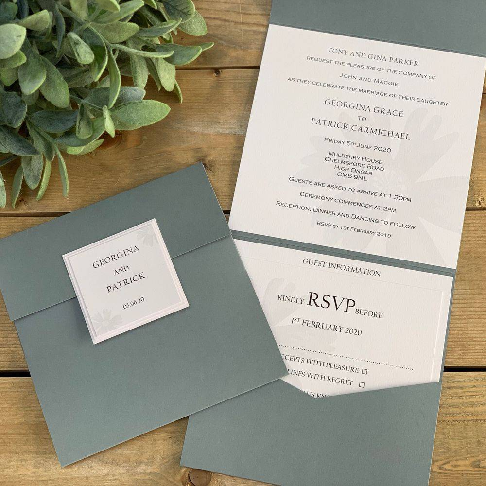 Grey and Nude/Blush wedding Invitation