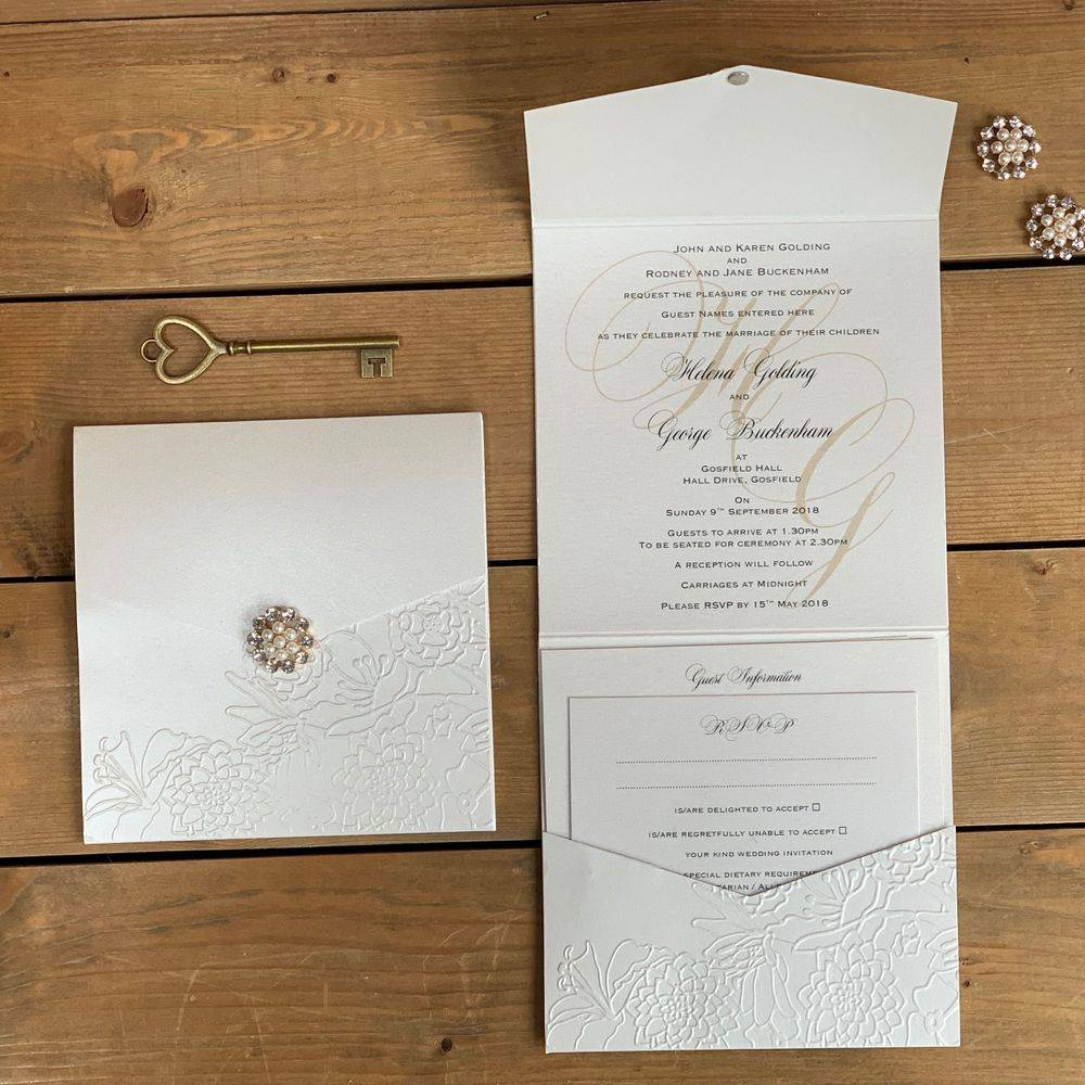 Ivory Embossed Pocket Invitation with Pearl and Crystal cluster
