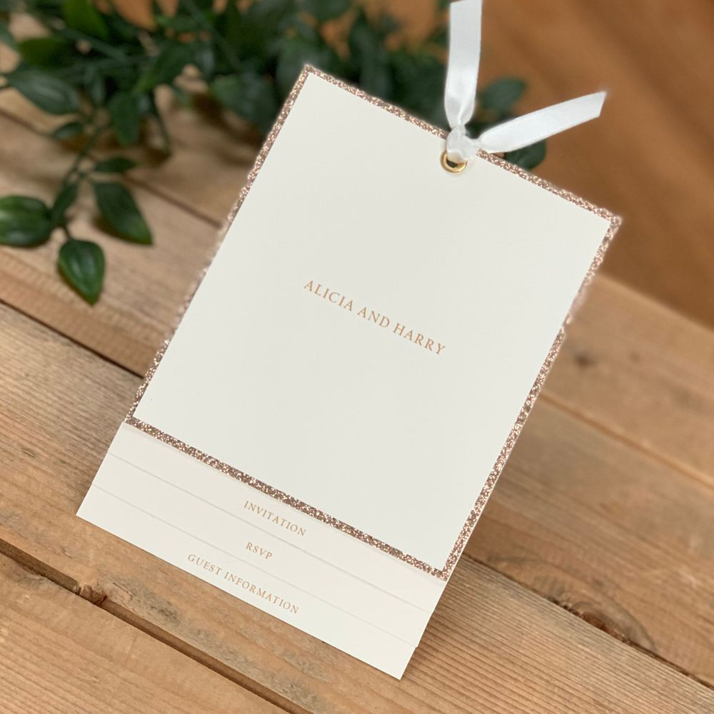 Ivory and Champagne gold wedding invitation