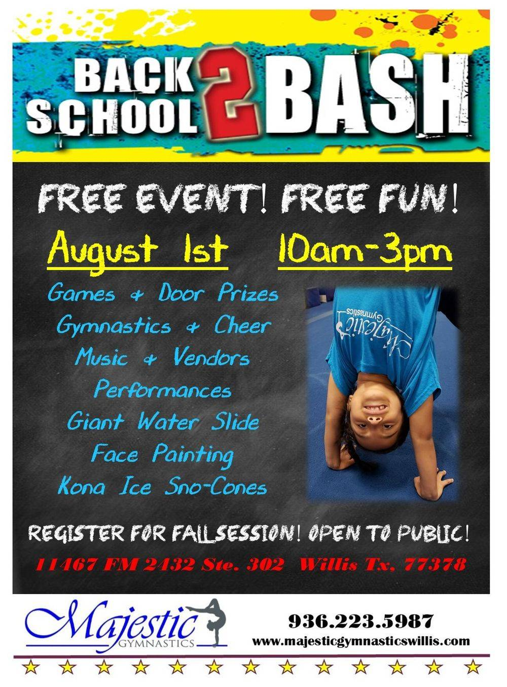 fall class registration gymnastics cheer tumbling ninja preschool willis conroe new waverly coldspring montgomery
