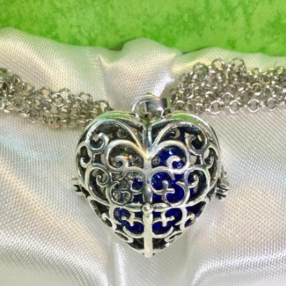 silver, pendant, locket, harmony ball, necklace, chain, heart, jingle, harmony, blue, rhinestone, filigre