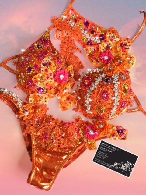 orange WBFF bikini