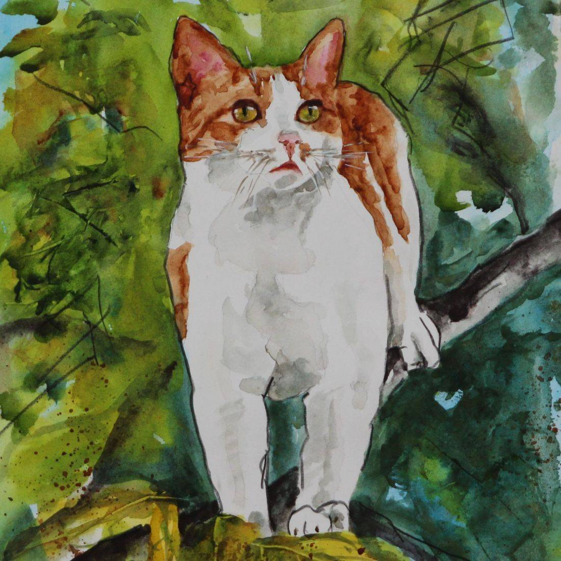 Rebecca Krutsinger pet portrait watercolor painting.