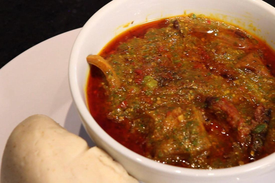 Delicious Ghana okro stew served with banku and meat or fish of your choice