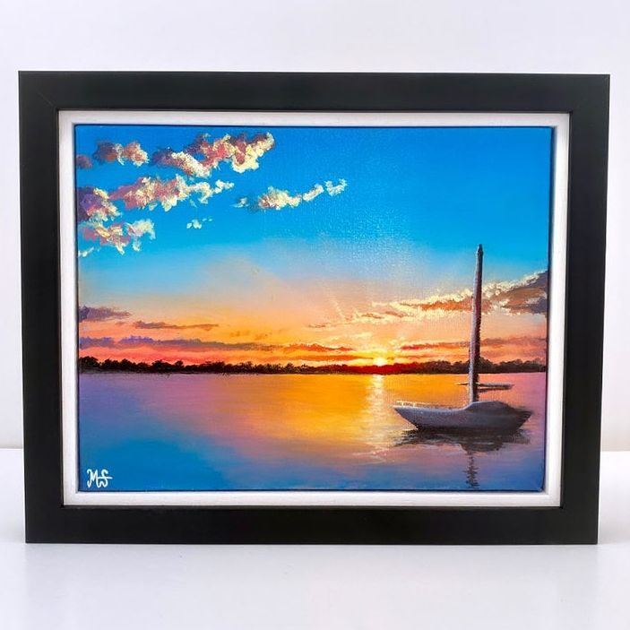 Sunset original acrylic framed painting by British Artist Murray Stewart