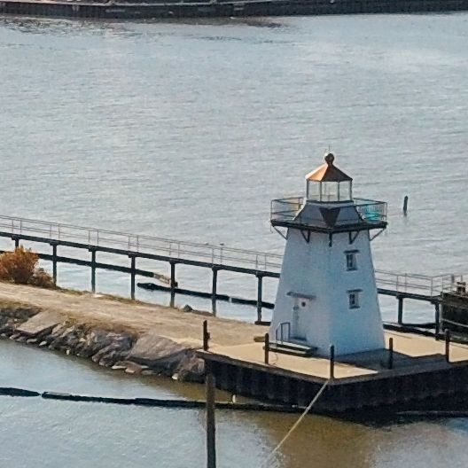 Light Houses Over Looking Fox River And Green Bay In Wisconsin