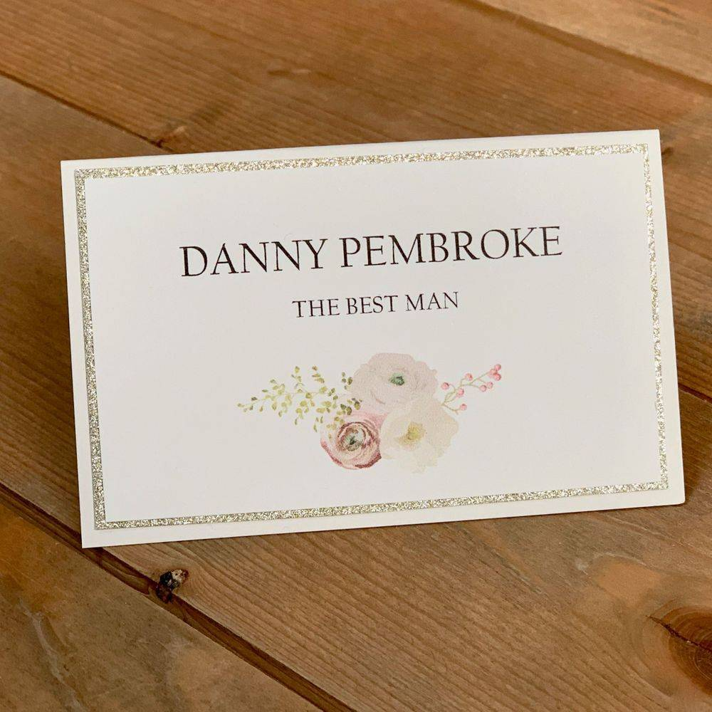 Wedding Place name Ivory with pale gold glitter