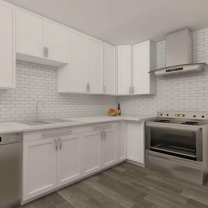 Living room design, interior design, modern, transitional, blue, grey, hardwood
