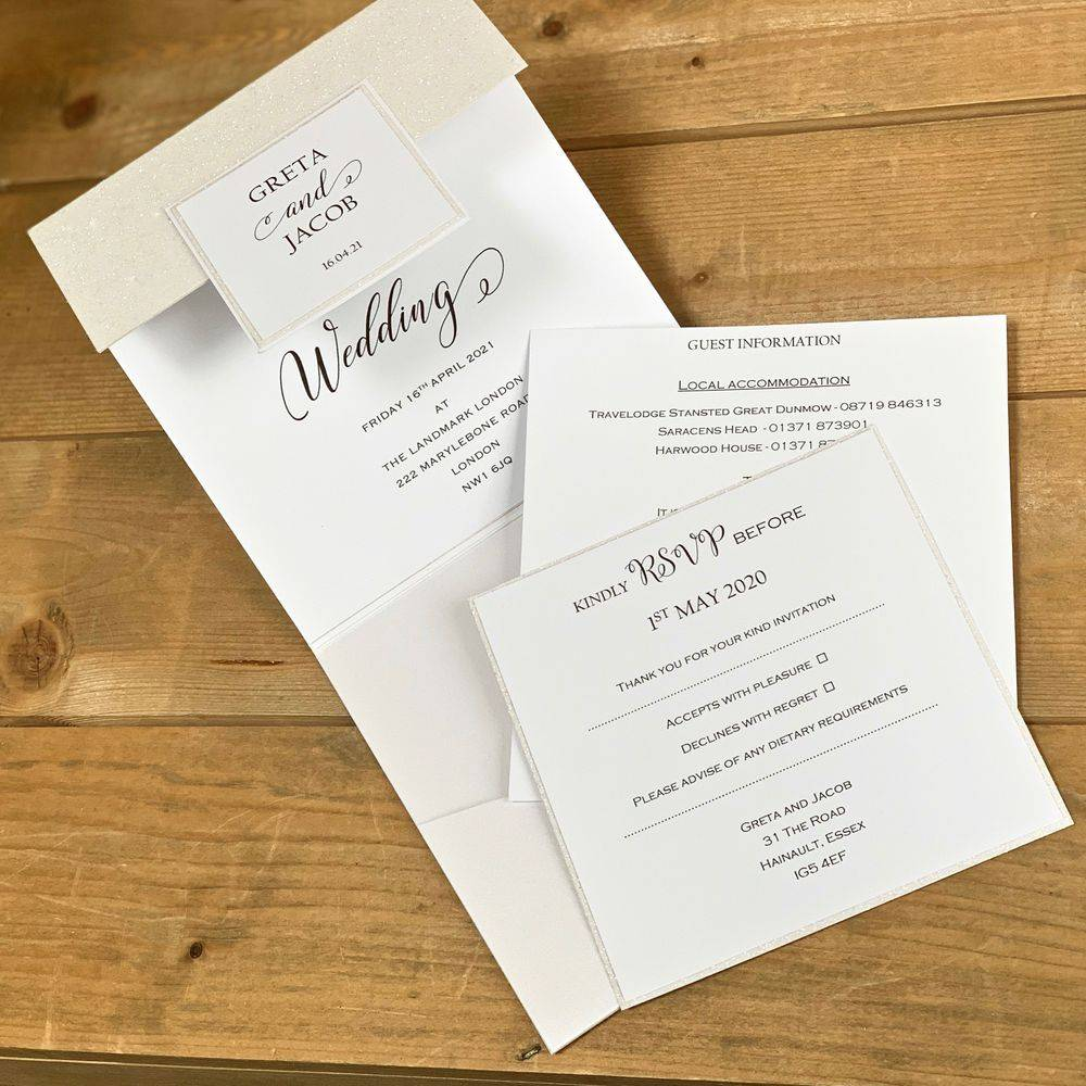 Wedding Invitations with white glitter