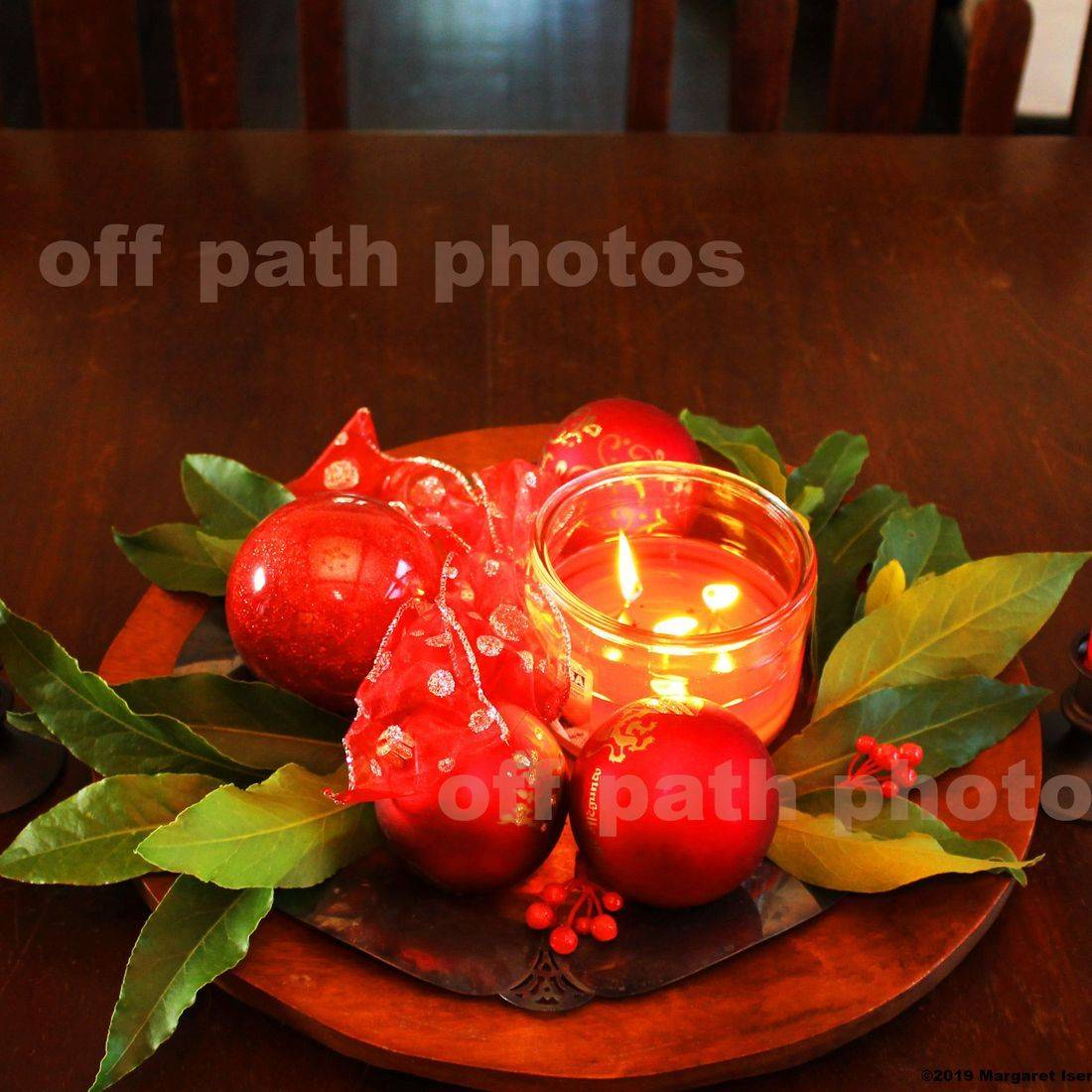 Christmas, candles, decor, holidays, holly, table, photography, red, green, flame