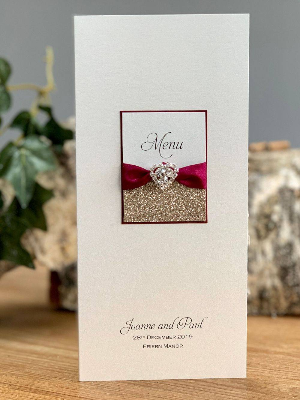 Luxury Menu card in champagne gold and wine with crystal heart