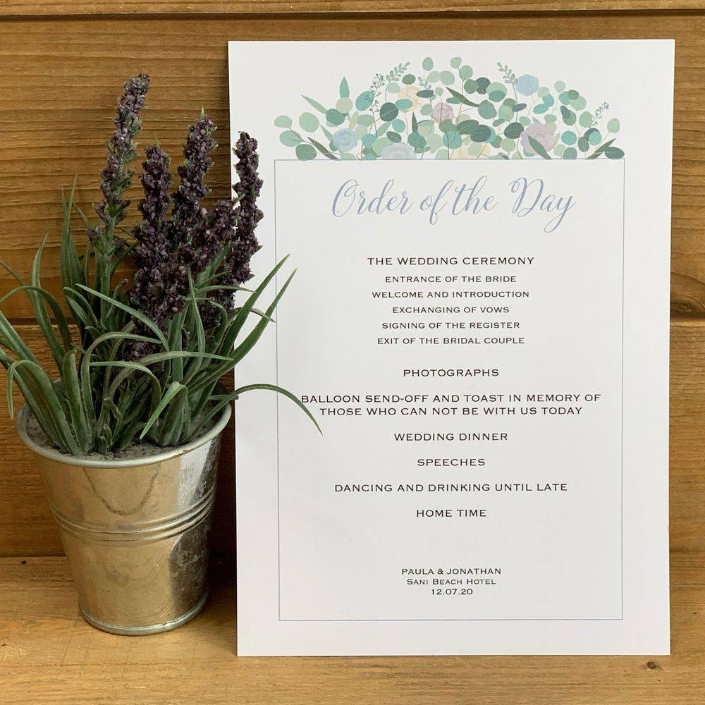 Eucalyptus,    Order of the Day Card